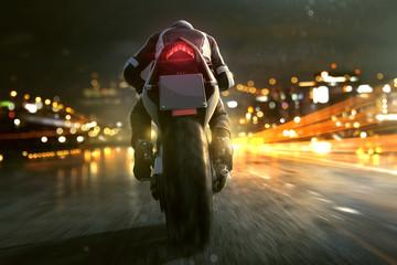 Wall Mural - Motorrad fährt abends in der Stadt