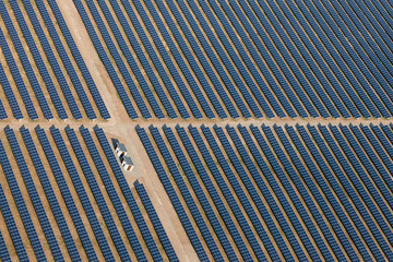 Aearial view above of solar farm