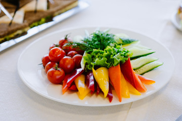 Vegetable mix, beautifully served on white plate