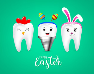 Cute tooth characters with rabbit ears decoration, hen tooth and implant. Happy Easter concept. illustration isolated on green background.