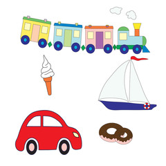 Collection of toys for the boy and sweet. Vector picture. Design elements for a children's print.