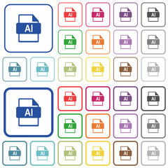 AI file format outlined flat color icons