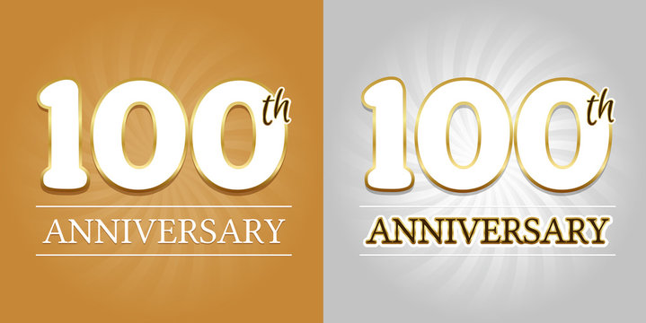 100th Anniversary Background - 100 years Celebration gold and Silver. Eps10 Vector.