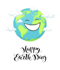 Happy earth day poster with planet and text. Smiling cartoon Earth isolated on white background.
