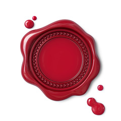 Red wax seal with dotted circle