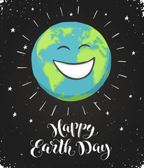 Earth day poster with stars and text on blackboard. Cartoon Earth planet on starry sky. Save our planet.