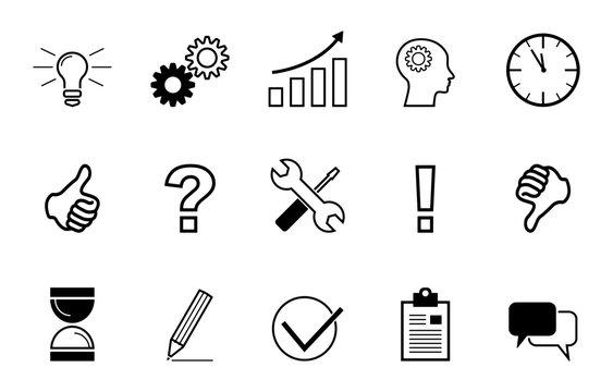 Business - Icons zum Thema Kreativität (in Schwarz)