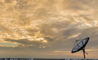 Single Satellite dish stand with beautiful sky