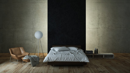 Modern bedroom with concrete wall and indirekt illumination