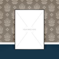 Vector poster template of a blank paper sheet in frame, placed in interior. Background with damask ornament