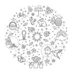 Spring icons set. Spring Garden, Flowers and Gardening Equipment. Flat Design Style