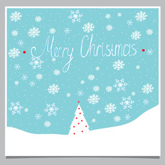 greeting illustration with snowflakes and Christmas tree on a blue background with the words merry Christmas