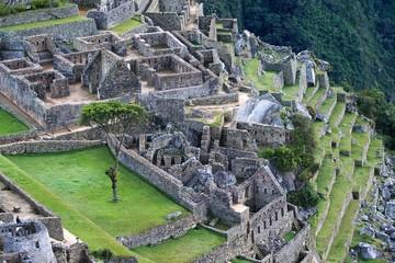 Factory houses of the Machu Picchu Inca ruins in Peru., South America.