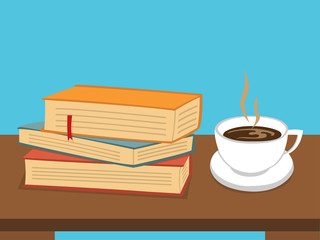 Books with Coffee on table
