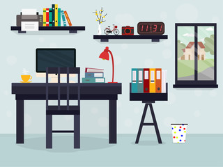 Workplace with computer, window, books, coffee, clock and other things. flat illustration