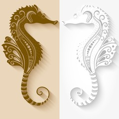 Vector illustration of Sea Horses mehndi ornament. Traditional indian style, ornamental floral elements for henna tattoo, stickers, mehndi and yoga design, cards and prints.