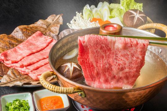 高級和牛でしゃぶしゃぶ  Japanese beef shabu-shabu set