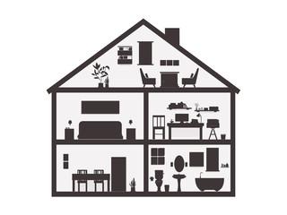 Silhouette House inside fireplace, bedroom, workplace, eat room, bathroom. illustration flat