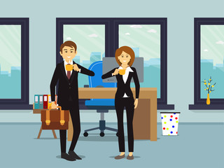 Workplace with man, woman with big window with coffee. illustration flat