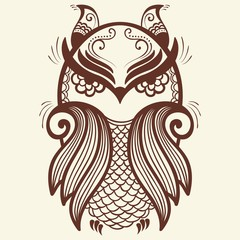 Vector illustration of owl mehndi ornament. Traditional indian style, ornamental floral elements for henna tattoo, stickers, mehndi and yoga design, cards and prints.