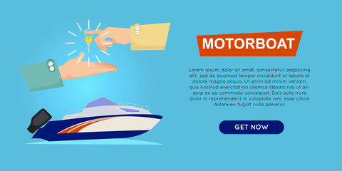Buying Motorboat Online. Boat Selling. Web Banner.