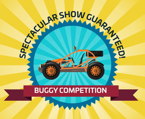 Off road buggy car competition banner vector illustration. Outdoor auto racing, extreme terrain vehicle sport, dune buggy race, spectacular 4x4 motor show, off road trophy championship.