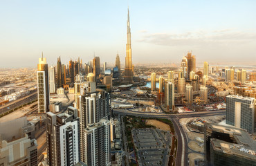 Modern architecture of a big city. Skyscrapers of downtown Dubai, United Arab Emirates. Spectacular daytime skyline. Travel and architecture background.