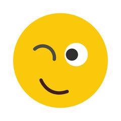 Flat smile emodji isolated on white background