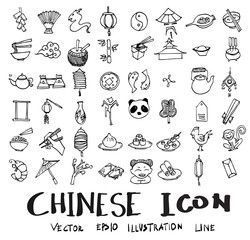 set of object related to Chinese doodle style eps10