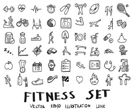 Doodle sketch fitness icons Illustration eps10