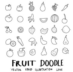 fruit drawing set  doodles vector eps10