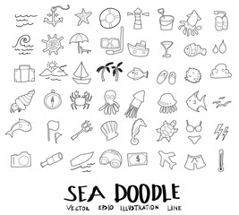 sea doodle drawing vector set eps10