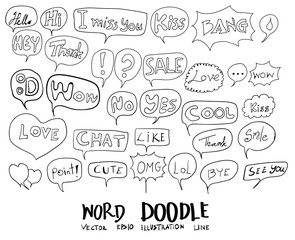 Hand drawn set of speech bubbles with dialog words eps10