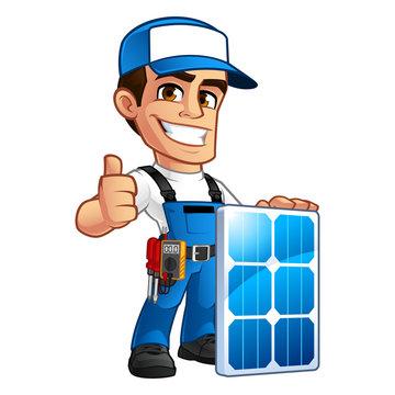 Friendly technician installer of solar panels, he wears a belt with tools