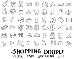 Doodle sketch shopping icons vector Illustration eps10