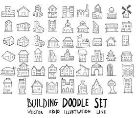 Doodle sketch type of building icons vector Illustration eps10