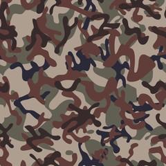 Multiterrain Woodland Camouflage seamless patterns. Modern Trendy Colors. Vector Illustration.