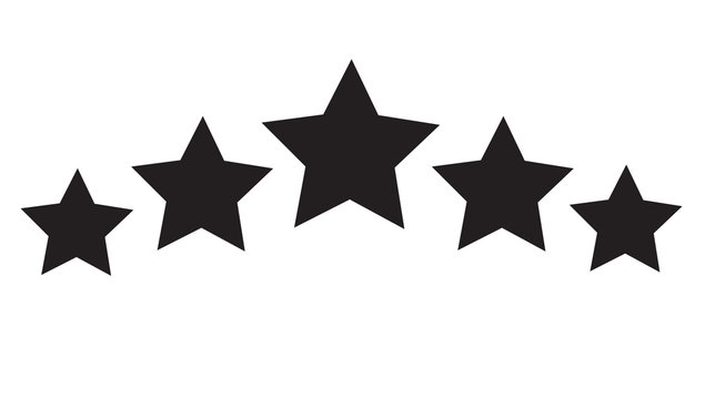 five star icon on white background. 5 star sign.