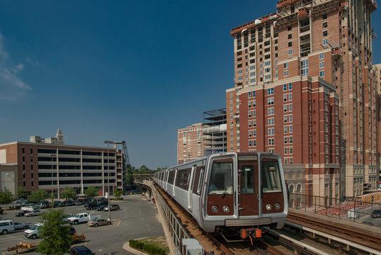 Washington DC Metro train leaving Eisenhower Avenue station.
