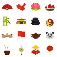 China travel symbols icons set in flat style