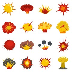 Explosion icons set in flat style