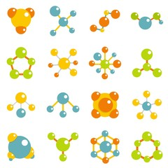 Molecule icons set in flat style