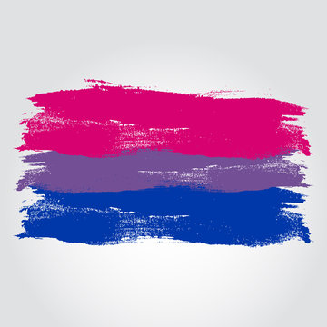 Bisexual pride flag in a form of brush stroke