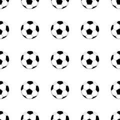 Seamless pattern with soccer balls on white background