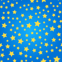 Seamless pattern with yellow stars on blue background. vector