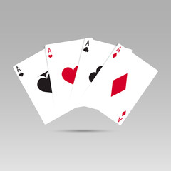 Vector illustration Playing Poker Cards. Four aces playing cards