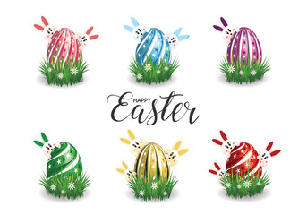 Happy Easter.Set of Easter eggs with different texture on a white background. Happy easter eggs. Vector Illustration