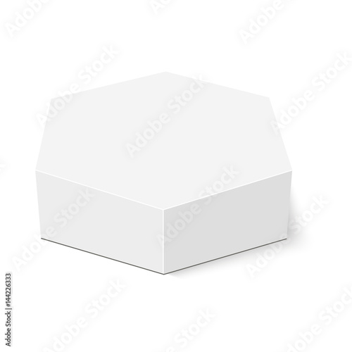 White cardboard hexagon box packaging .Vector mock up template ready ...