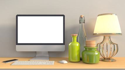 computer with white screen on office table. 3D illustration