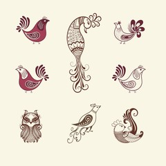 Vector illustration of birds mehndi ornament. Traditional indian style, ornamental floral elements for henna tattoo, stickers, mehndi and yoga design, cards and prints.